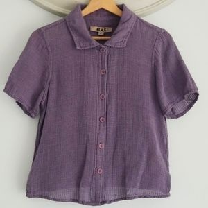 FLAX short sleeve button up top